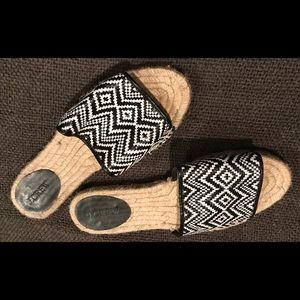 J Crew Black/White Patterned Jute Sandals